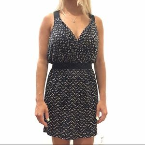 BCBG Sleeveless Wrap Mini Dress Printed Blouson
